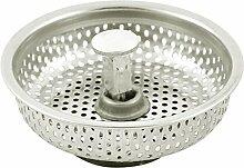 sourcingmap® Haushalt Metall Küche Müll Waschbecken Becken Stopper Filter Sieb Silber Ton