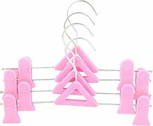 sourcingmap® Haushalt Zwei Clips Kleidung Hose Schuhe Trocknen Kleiderbügel Haken 4PCS Pink