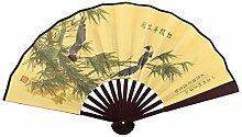 sourcingmap® Holz Rahmen Bambusmuster chinesischer Art faltender Hand Ventilator Gelb