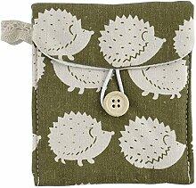 sourcingmap® leinen Igel Muster Knopf Schließung Sanitär Servietten Pad Tasche weiß Grün