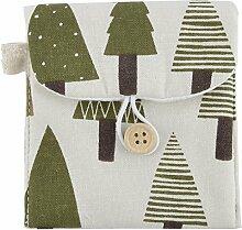 sourcingmap® leinen Rechteck Form Baum Muster Knopf schließen Sanitär Servietten Pad Tasche