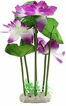 sourcingmap® Lila Aquarium Plastik Lotus Pflanze Unterwasser Dekor mit / Keramikbasis