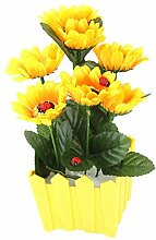sourcingmap® Plastic Flowerpot Tabletop Decorative Artificial Flower Pot 23cm Heigh