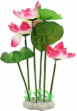 sourcingmap® Rosa Aquarium Plastik Pflanze Dekoration mit Keramiksockel Unterwasser