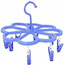 sourcingmap® Rund blau Rechteck Plastik 8 Haken Socks Trocken Kleiderbügel Wäscheständer