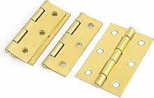 Sourcingmap® Schrank Schrank Möbel 6,3cm lang Messing Tür Hintern Scharnier 4