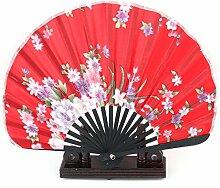 sourcingmap Tanz Bambus Blumenmuster faltbar Hand Ventilator Anzeige 2 in 1 rot Halter