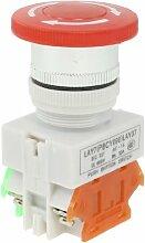 sourcingmap® weiß Zeichen Rotation Stopp Notall Druckknopf Schalter 660V 10A Plastik Metall