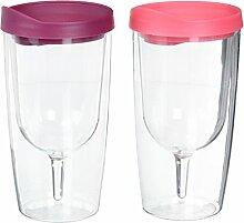 Southern Homewares Isolierter Vino doppelwandig Acryl mit Merlot und rosa Drink durch Deckel Wine Tumbler, Unzen, farbenreiche