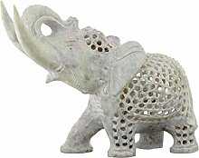 SouvNear Elefanten Deko Figuren Skulptur Statuen, Handarbeit Dekorativ Massiv Stein Elefant, 20.3 cm, Geschenk Für Männer Und Frauen, 20.3 cm