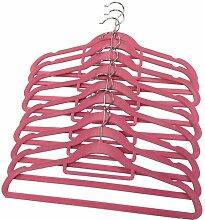SOVI 120x Pink rutschfeste Kleiderbügel Samt beflockt Coat Kleidung Hosen hängen Kleiderbügel mit Bar
