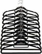 SOVI - 30 x Schwarz rutschfeste Kleiderbügel Samt beflockt Kleiderhaken zum Aufhängen Kleiderbügel Hosen mit BAR