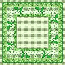 Sovie HORECA Linclass® Airlaid Tischdecke JONI RABBITS 80x80 cm / Mitteldecke stoffähnlich / praktisches Einmal-Tischtuch / edle Tischdeko / Grün