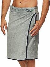 Sowel Saunakilt, Saunatuch mit Klettverschluss für Herren, 100% Baumwolle, 140 x 60 cm, Grau Navy