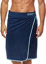 Sowel Saunakilt, Saunatuch mit Klettverschluss für Herren, 100% Baumwolle, 140 x 60 cm, Navy Blau