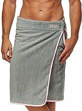Sowel Saunakilt, Saunatuch mit Klettverschluss für Herren, 100% Baumwolle, 140 x 60 cm, Grau Pink