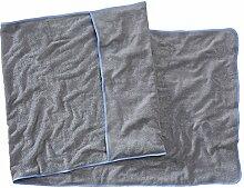 Sowel Strandtuch mit Kapuzenüberschlag, Handtuch für Liege, Reine Baumwolle, 80 x 220 cm, Grau Blau