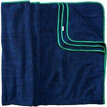 Sowel XXL Strandtuch für Paare, Badehandtuch mit farbiger Bordüre, 100% Baumwolle, Größe 160 x 200 cm, Navy Grün