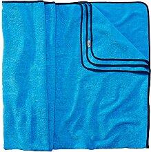 Sowel XXL Strandtuch für Paare, Badehandtuch mit farbiger Bordüre, 100% Baumwolle, Größe 160 x 200 cm, Blau Navy