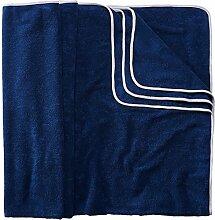 Sowel XXL Strandtuch für Paare, Badehandtuch mit farbiger Bordüre, 100% Baumwolle, Größe 160 x 200 cm, Navy Grau