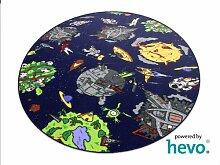 Space blau Weltraum HEVO® Teppich | Spielteppich | Kinderteppich 200 cm Ø Rund Oeko-Tex 100