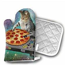 Space Cat Pizzaofen Handschuhe rutschfest für zu