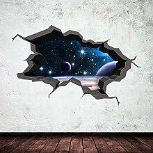 Space Planeten Universe Galaxy Welt gebrochenen 3D–Art Wand Aufkleber jungen Aufkleber Wandbild New 26