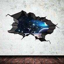 Space Planeten Universe Galaxy Welt gebrochenen 3D–Art Wand Aufkleber jungen Aufkleber Wandbild New 25