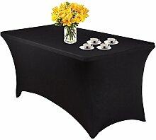 Spandex Stretch Tischhusse schwarz Tischdecke, rechteckig, für 4ft fuß Tisch, schwarz, 122 cm