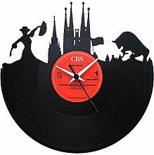 Spanien Barcelona Geschenkidee Uhr aus Vinyl Schwarz Vinyluse original