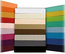 Spannbettlaken Bettlaken 90x200 - 100x200 cm / Spannbetttuch Spannleintuch aus Jersey Baumwolle in terra / orange für Standardmatratzen