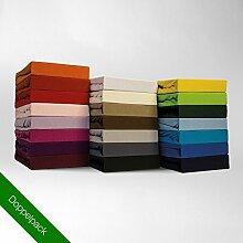 Spannbettlaken Bettlaken Doppelpack 90x200 – 100x200 cm / Spannbetttuch Spannleintuch aus Jersey Baumwolle in terra / orange für Standardmatratzen