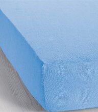 Spannbettlaken Frottee, blau (200/200 cm)