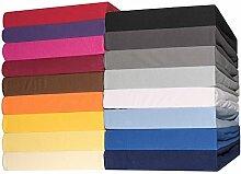 Spannbettlaken Jersey Baumwolle 90x200 - 100x200 cm Spannbetttuch für Standardmatratzen CelinaTex 0002774 Lucina creme-gelb