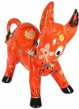 Spardose Esel-Iggy orange mit Blumen