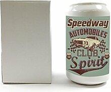 Spardose Garage Auto Club Keramik bedruckt Tankstelle