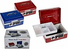 Spardose Geldkasette Tresor Metall mit Tragegriff und Kombinationsschloss Farbauswahl, Farbe:Ro