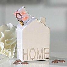 Spardose Home weiss / silber Porzellan Höhe 12cm