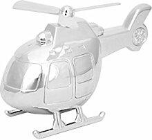 Spardose Hubschrauber Helikopter Silber versilbert Metall Geschenk Sparbüchse + Brillibrum Flyer Geschenke Geschenkidee Kinder (Spardose mit Gravur bis 15 Zeichen)