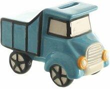 Spardose LkW Dolomite blau glasiert m. Gummistopfen 13x7,5x9 cm, Fahrzeug, Männer, Geschenk, Bauarbeiter