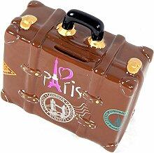 Spardose Reisekoffer braun London Paris Moskau Rom New York Ägypten lustige Sparbüchse im Koffer Design
