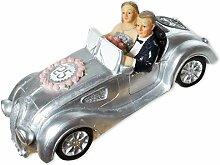Spardose Silberhochzeit Auto, silberfarben aus Polyresin (7x 17cm)