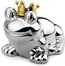Spardose Sparbüchse Froschkönig Frosch Geld Silber Krone Gravur Brillibrum® Flyer Geschenke Geschenkidee Kinder (Spardose ohne Gravur)
