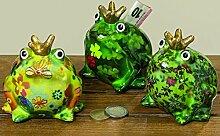 Spardosen Set Froschkönig 3tlg. - 3 Sparschweine im Frosch Design zu einem Preis