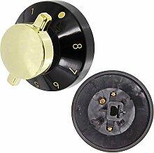 spares2go Grill Brenner Flame Schalter Regler für Kaminöfen Ofen Herd (schwarz/gold, 2Stück)