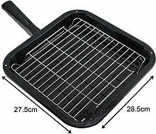spares2go Kleine Grillpfanne, quadratisch, Rack & abnehmbarer Griff für Nardi Ofen Kochfeld