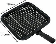spares2go Kleine Grillpfanne, quadratisch, Rack & abnehmbarer Griff für de Dietrich Backofen Kochfeld
