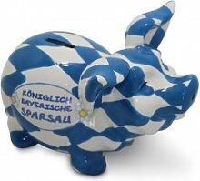 Sparsau königlich-bayrisch,Bayerisches Sparschwein weissblau mit BUTTON BAYERN