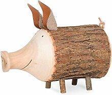 Sparschwein Rudi aus Astholz mit Rinde