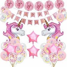 SPECOOL Einhorn Geburtstagsdeko Mädchen,Rosa